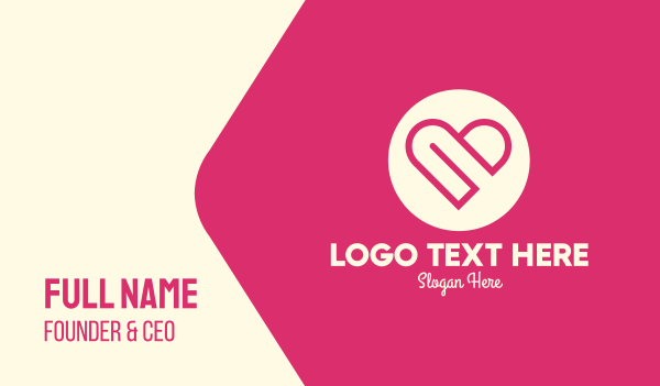 dating community - Lovely Pink Heart Circle Business card horizontal design