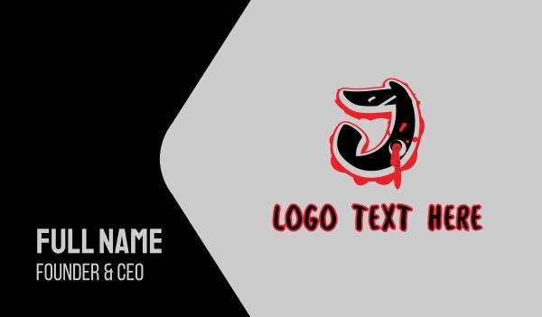 bullet hole - Splatter Graffiti Letter J Business card horizontal design