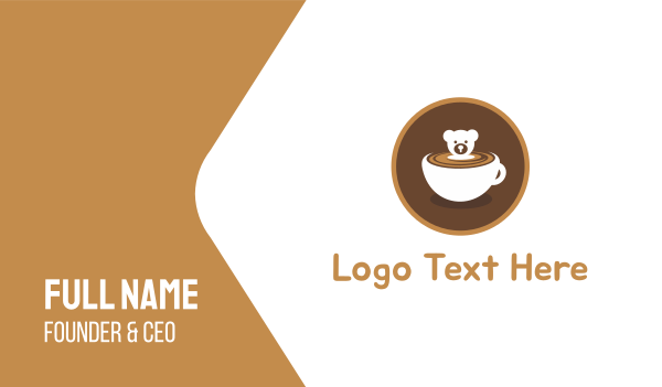 brown cup - Bear Coffee Cup Business card horizontal design
