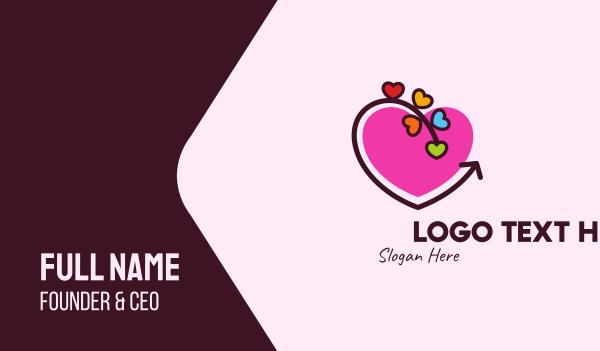 lovely - Family Love Hearts Business card horizontal design