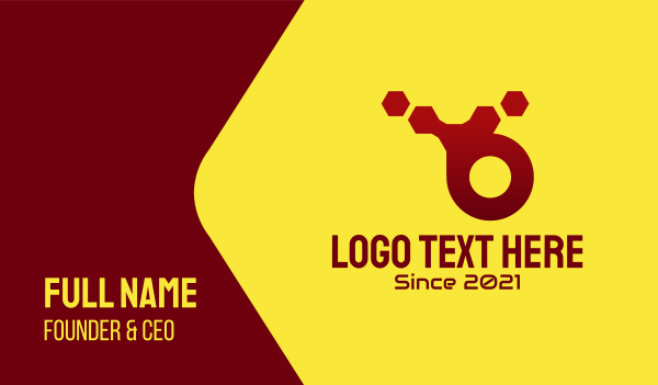 robotic - Red Hexagon Technology  Business card horizontal design