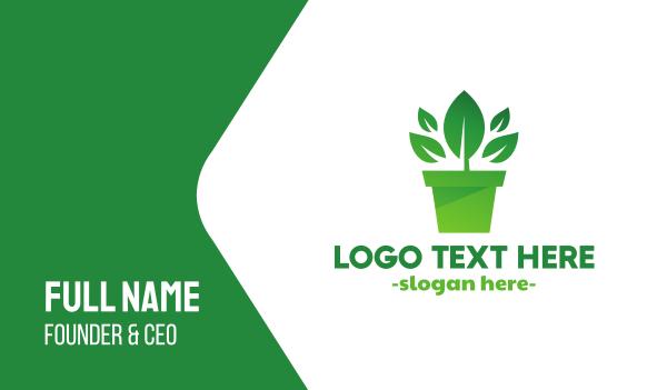 primitive - Green Leaf Pot  Business card horizontal design