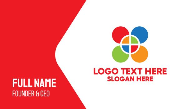 color - Colored Geometric Petals Business card horizontal design