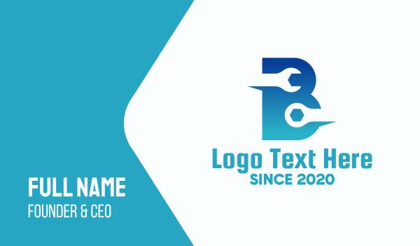 tool - Blue Repair Letter B Business card horizontal design