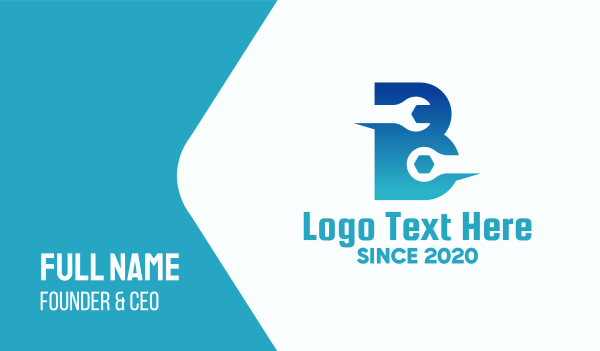 fixing - Blue Repair Letter B Business card horizontal design