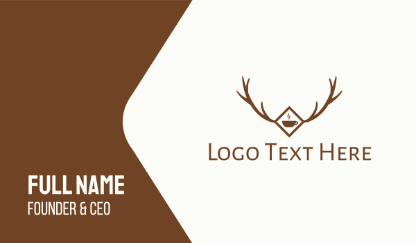brown cup - Forest Antler Cafe Business card horizontal design