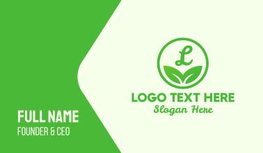 Green Leaf Lettermark Business Card