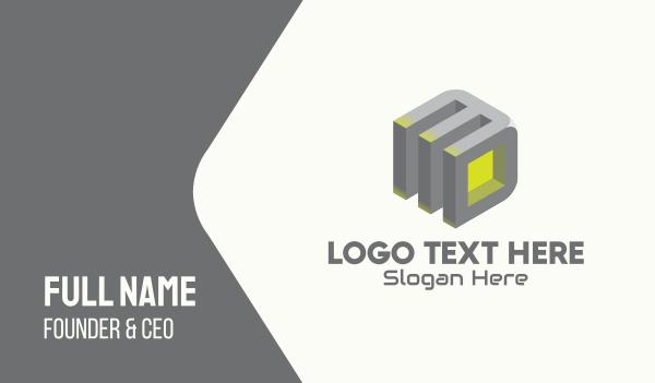 geometrical - 3D Gray Cube Business card horizontal design