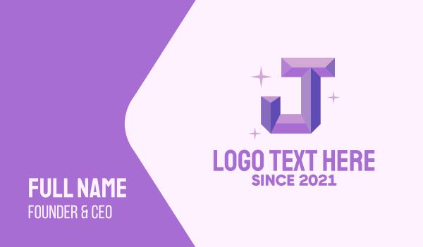 glitter - Shiny Gem Letter J Business card horizontal design