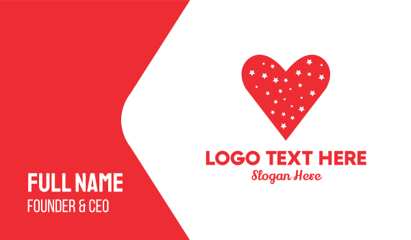 valentines day - Star Red Love Heart Business card horizontal design