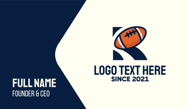 tourney - American Football Letter R Business card horizontal design