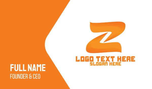lettermark z - Fire Letter Z Business card horizontal design