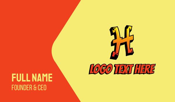 hip hop label - Orange Graffiti Letter H  Business card horizontal design