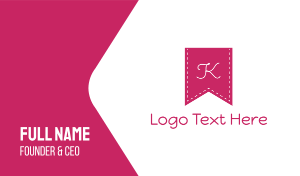 banner - Pink K Flag Business card horizontal design