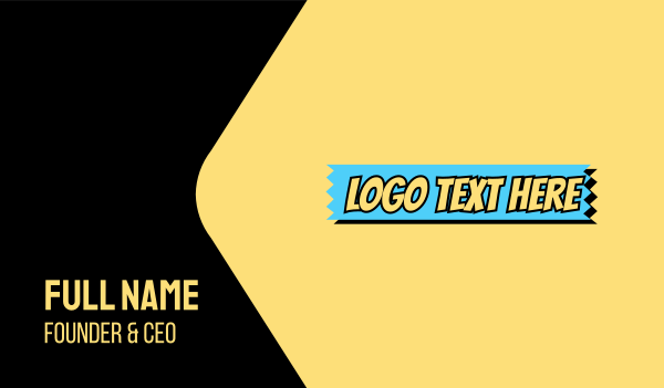 cool - Comic Strip Wordmark  Business card horizontal design