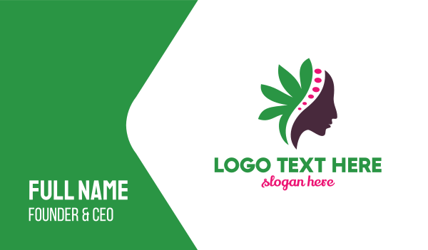 female - Green Leaf Female Business card horizontal design