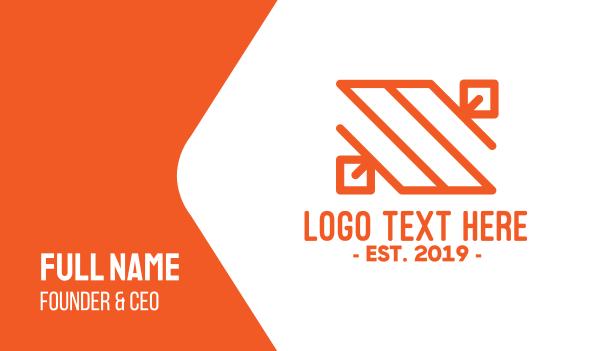 orange leaf - Orange Minimal Letter S Business card horizontal design