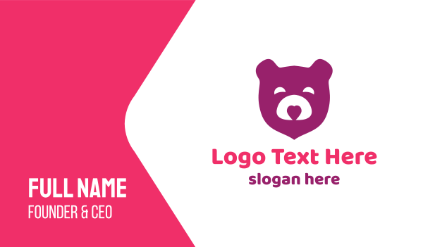 teddy - Purple Teddy Bear Business card horizontal design