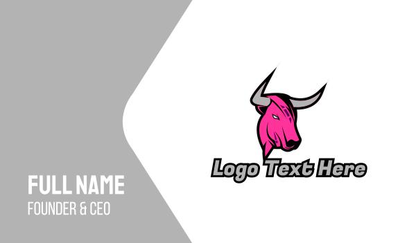 hot pink - Pink Bull Gaming Business card horizontal design