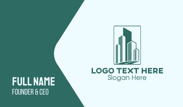 green city - Geometric Buildings Road Business card horizontal design