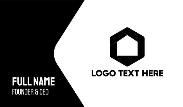 black hexagon - Home & Lens Business card horizontal design