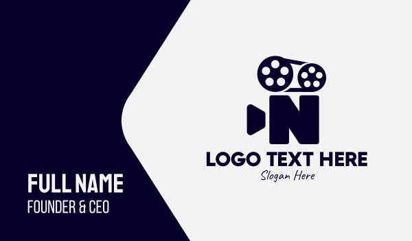 tape - Black Film Letter N Business card horizontal design
