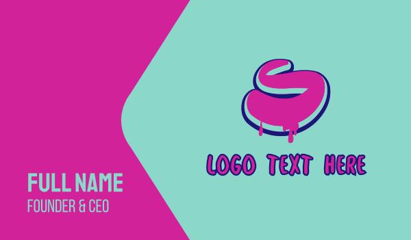 neon - Paint Graffiti Letter S Business card horizontal design