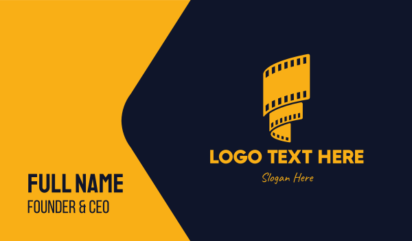 theater - Yellow Film Reel Business card horizontal design