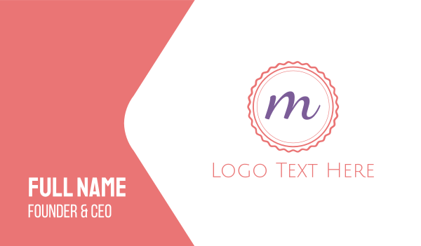 pink cupcake - Cute M Emblem Business card horizontal design