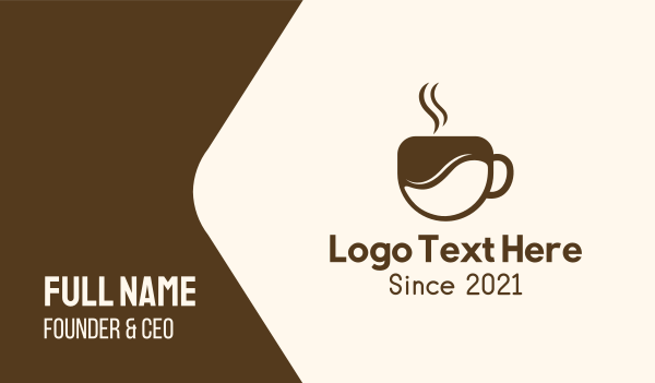 steam - Brown Coffee Cup Business card horizontal design