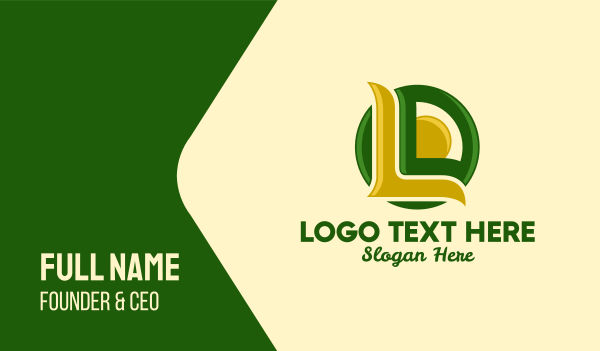 green and yellow - Green & Yellow Natural Letter L  Business card horizontal design