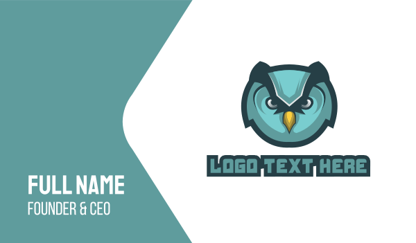 blue owl - Angry Owl Gaming Business card horizontal design