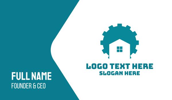 maintenance - Blue Gear House Business card horizontal design