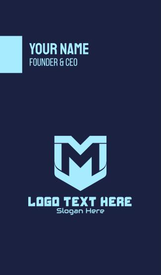 Digital Shield Letter M Business Card