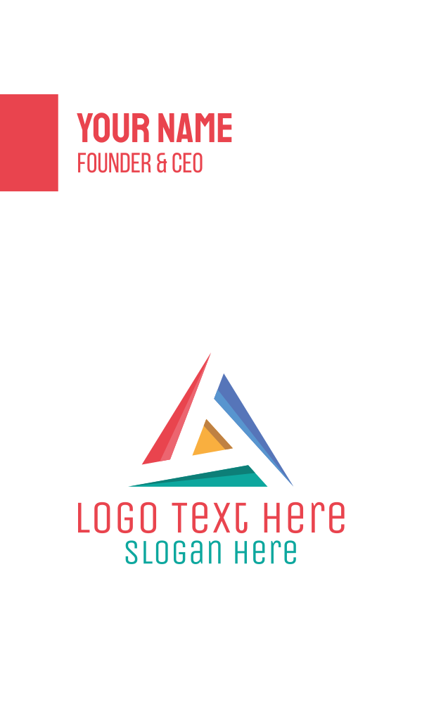 Colorful Triangle Letter A Business Card