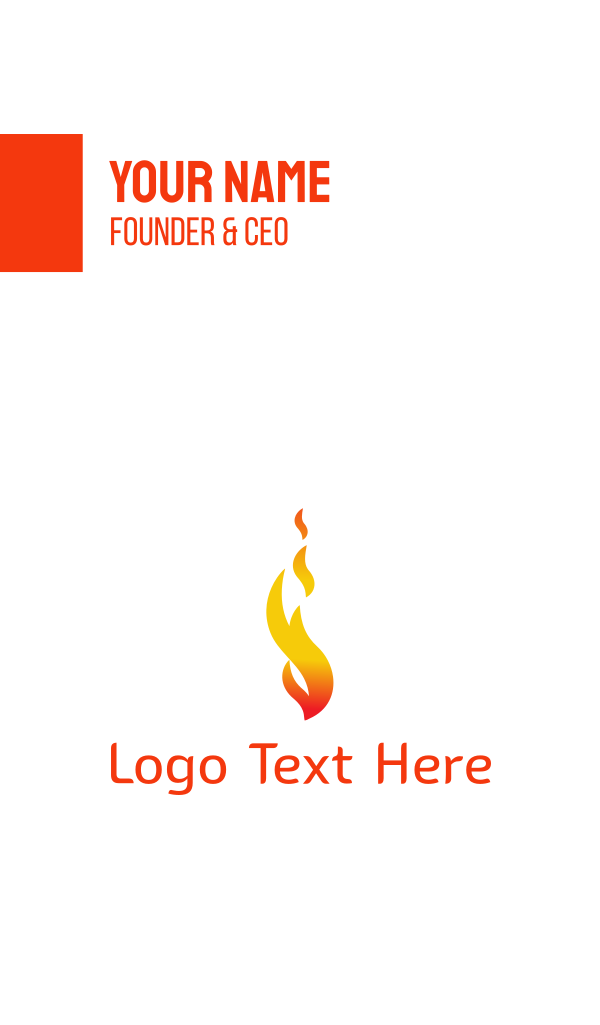 Orange Flame Fire Business Card