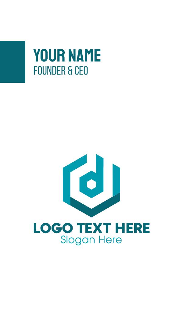 Hexagon Letter D Business Card