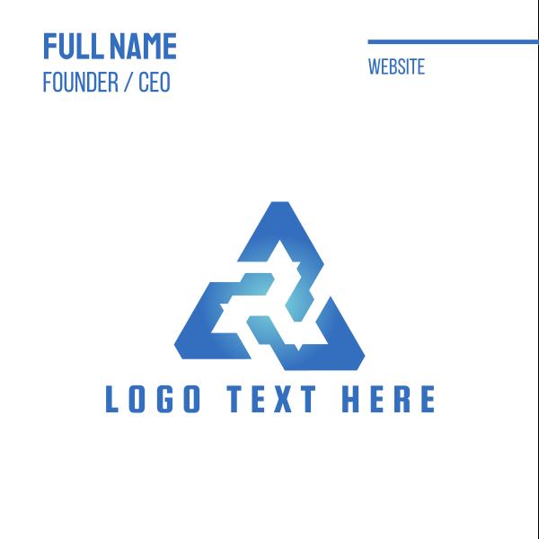Blue Tech Triangle Business Card