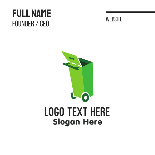 Green Garbage Can Business Card