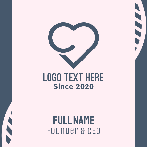 Letter C Heart Business Card