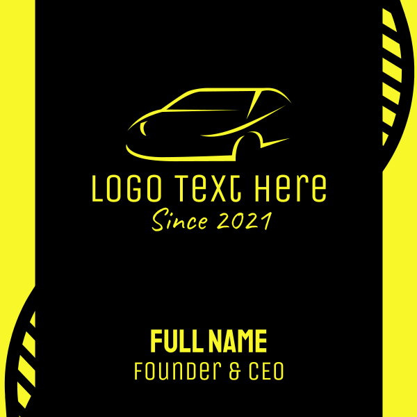 Yellow Sports Car Business Card