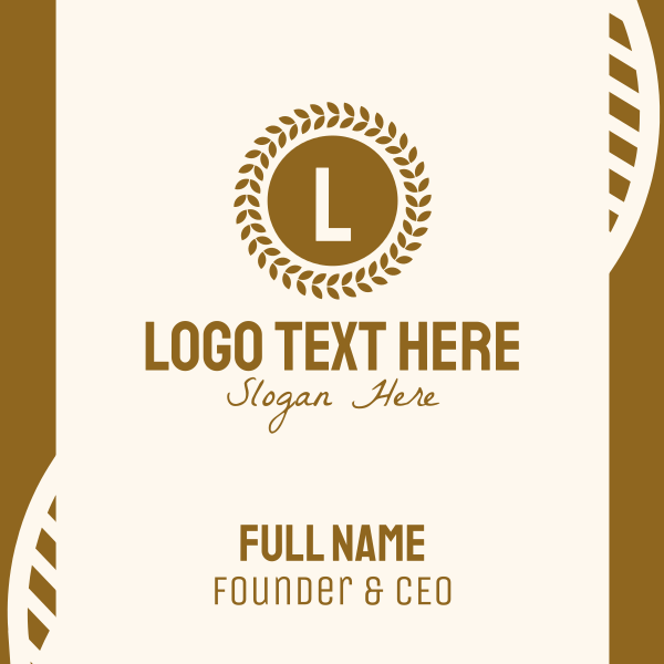 Wheat Grain Lettermark Business Card