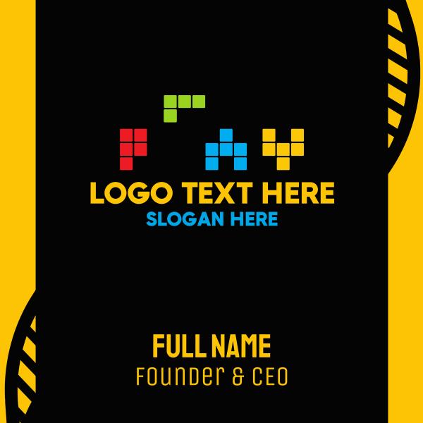 Colorful Tetris Play Business Card