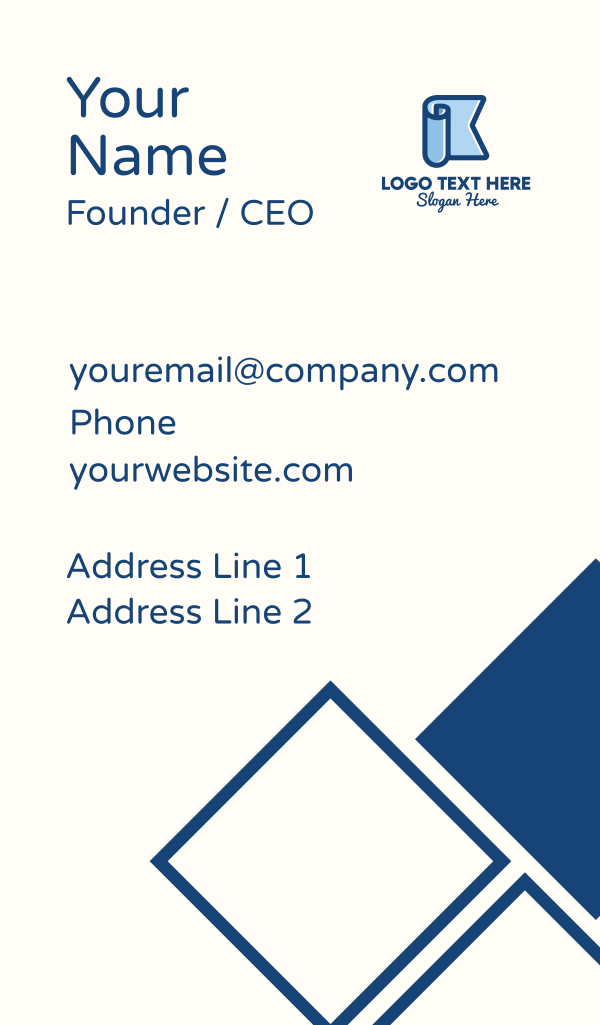 Letter K Banner Business Card