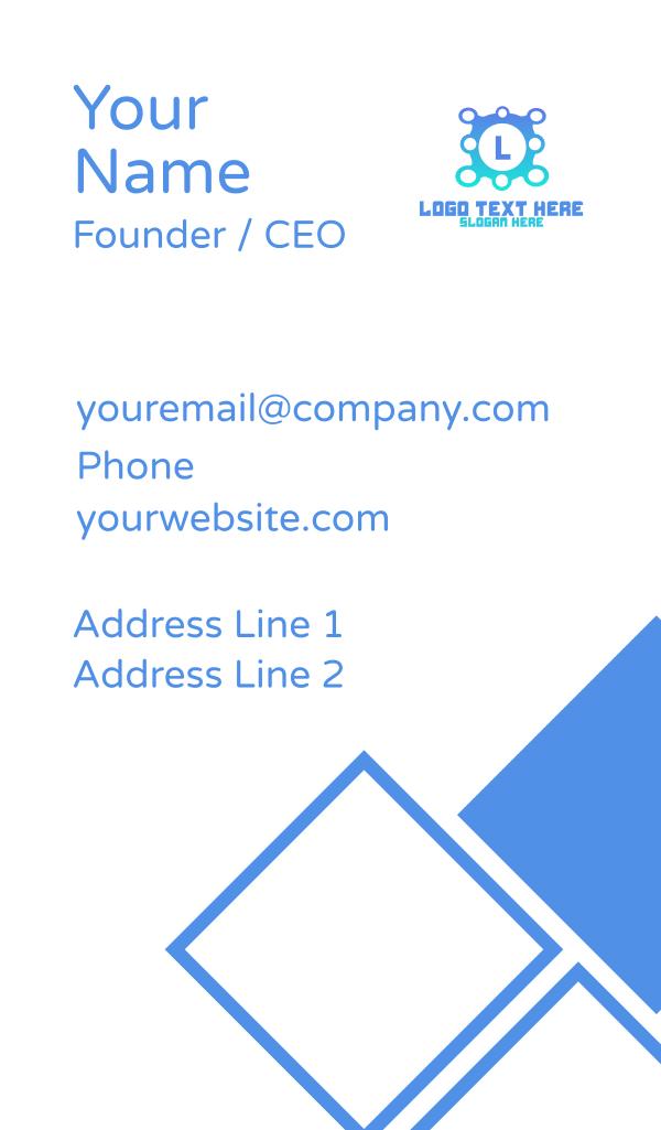 Blue Gradient Tech Lettermark Business Card