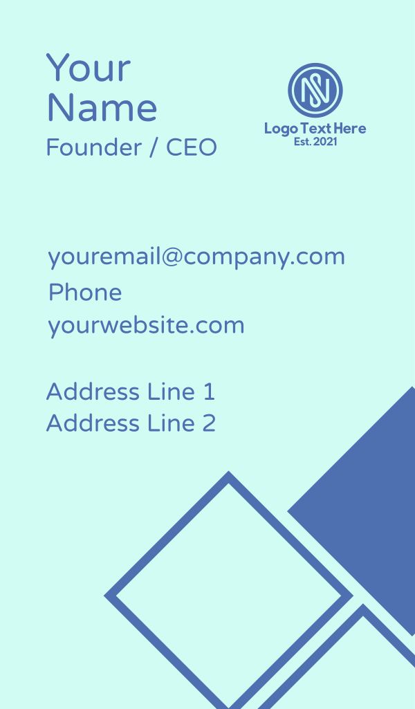 Blue NS Monogram Business Card