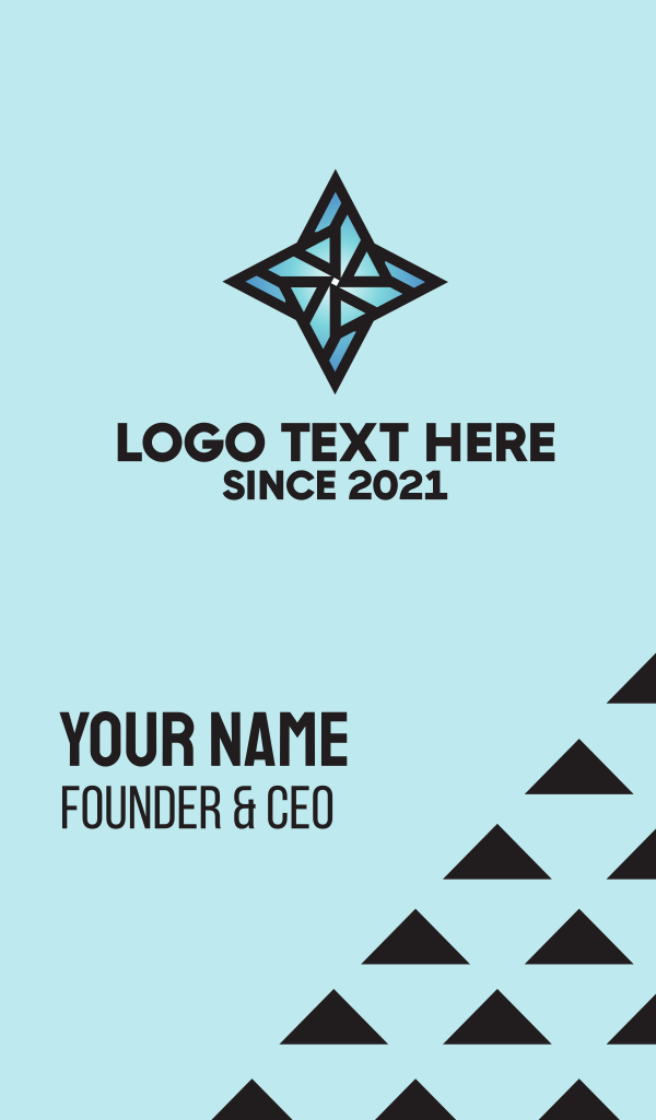 Blue Four Point Star Business Card