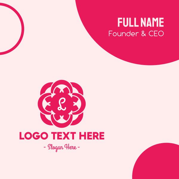 Pink Feminine Lettermark Business Card