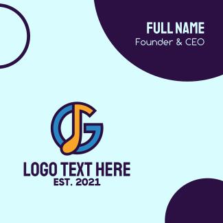 Music Letter G Business Card