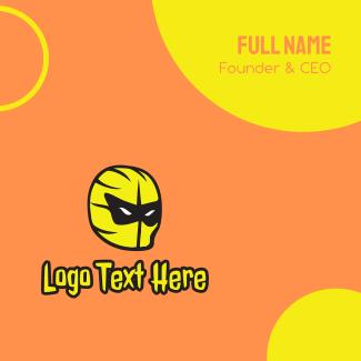 Yellow Superhero Mask Business Card